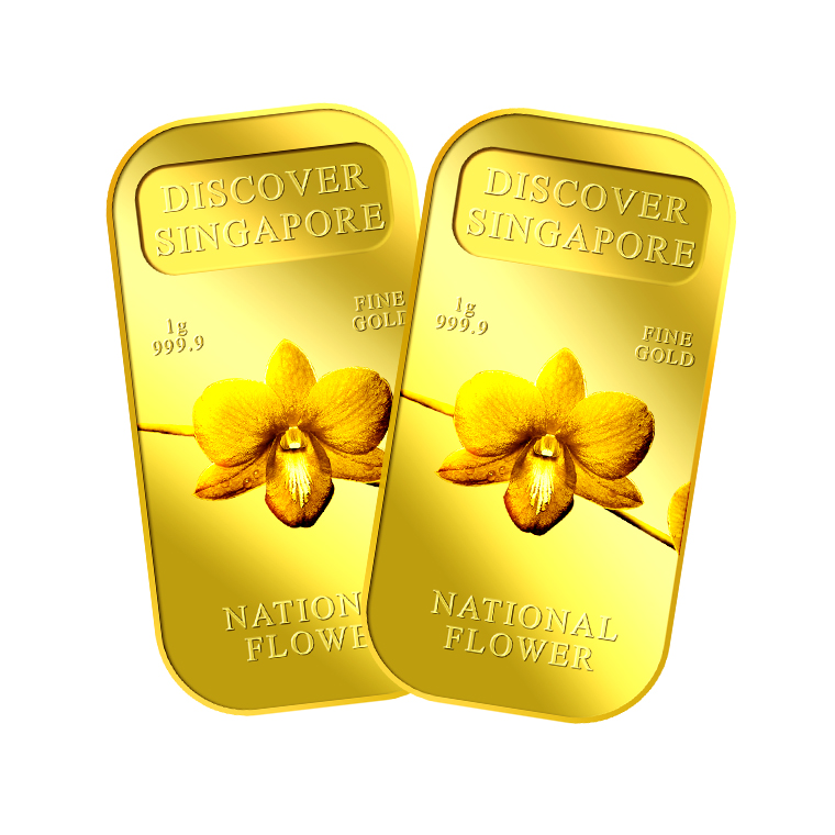 1g x 2 SG National Flower Gold Bar