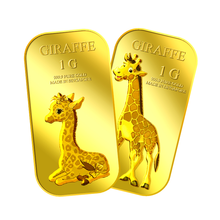 1g x 2 Giraffe (Female and Male) Gold Bar