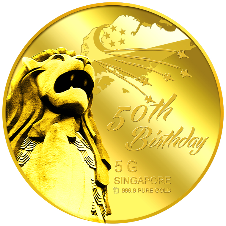 5g SG 50th Birthday Gold Medallion (YEAR 2015)