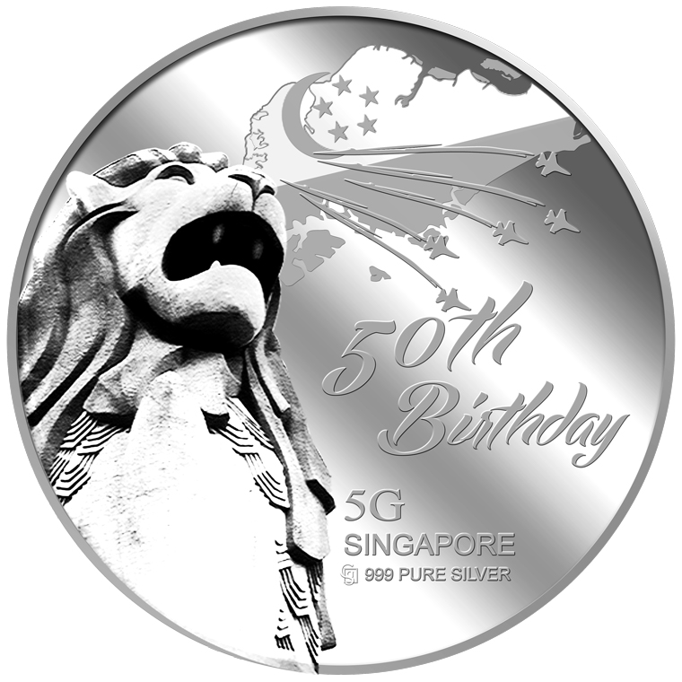 5g SG 50th Birthday (SERIES 1) Silver Medallion (YEAR 2015)