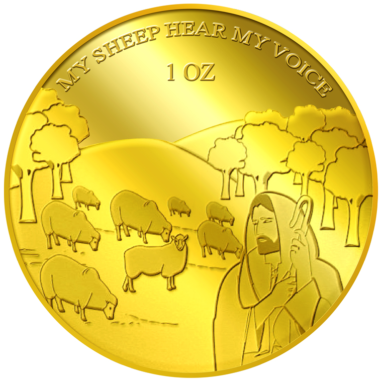 1oz My Sheep Hear My Voice Gold Medallion (6TH LAUNCH)
