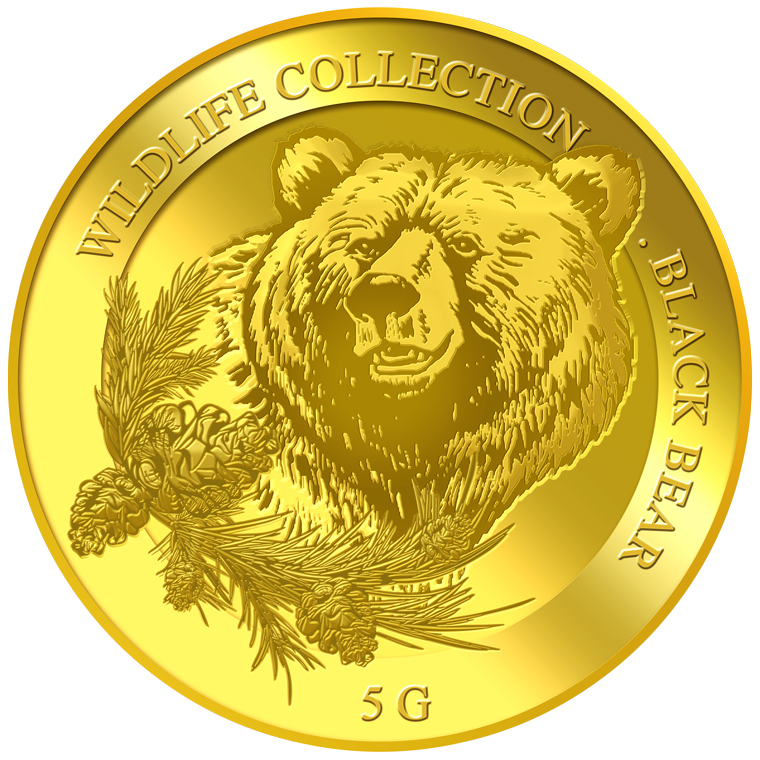 5g Black Bear Gold Coin