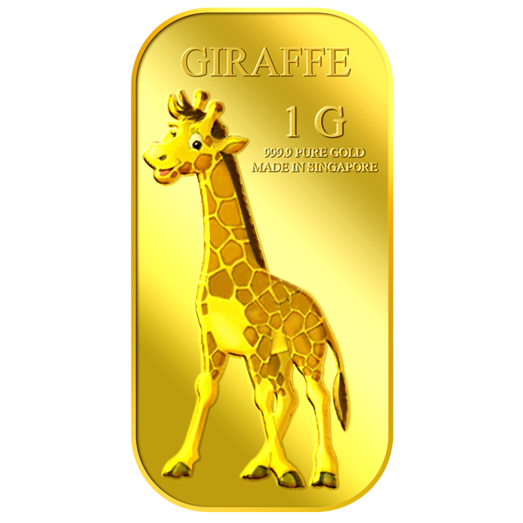 1g Giraffe (Male) Gold Bar