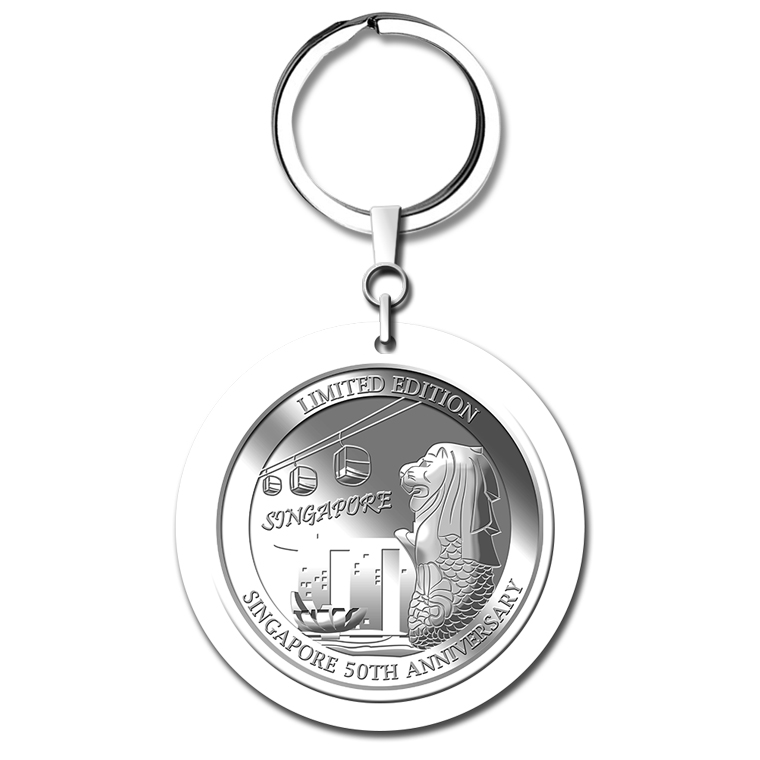 5g SG 50th Cable Car Silver Medallion Keychain