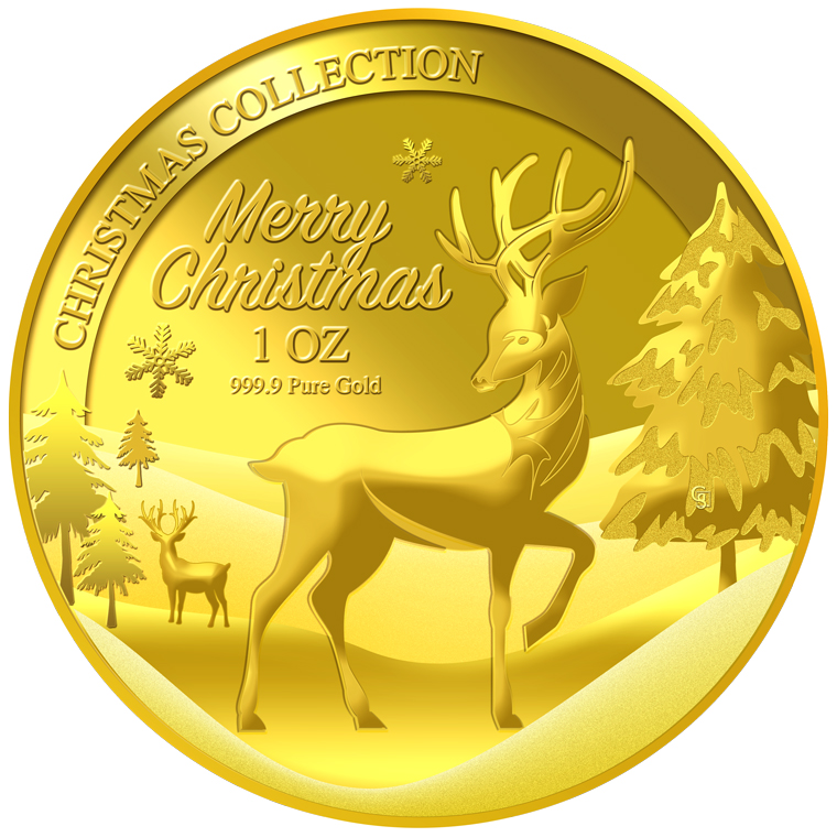 1oz 2016 Christmas Reindeer Gold Medallion