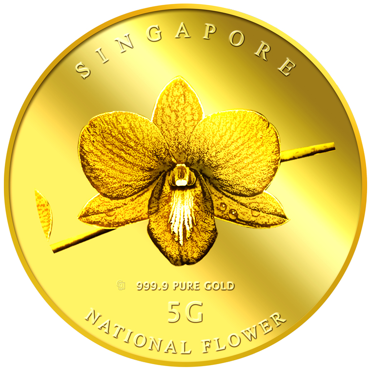 5g SG National Flower (Round) Gold Coin