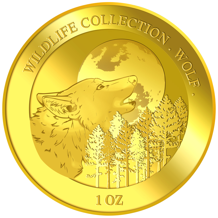 1oz Wolf Gold Medallion