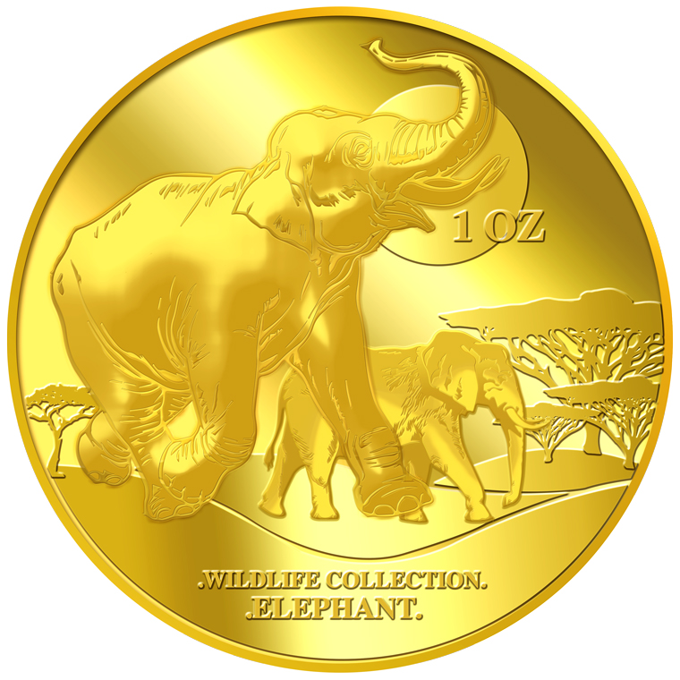 1oz Elephant Gold Medallion