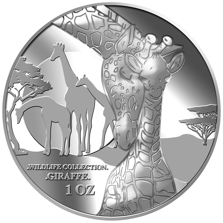 1oz Giraffe (Mother & Son) Silver Medallion