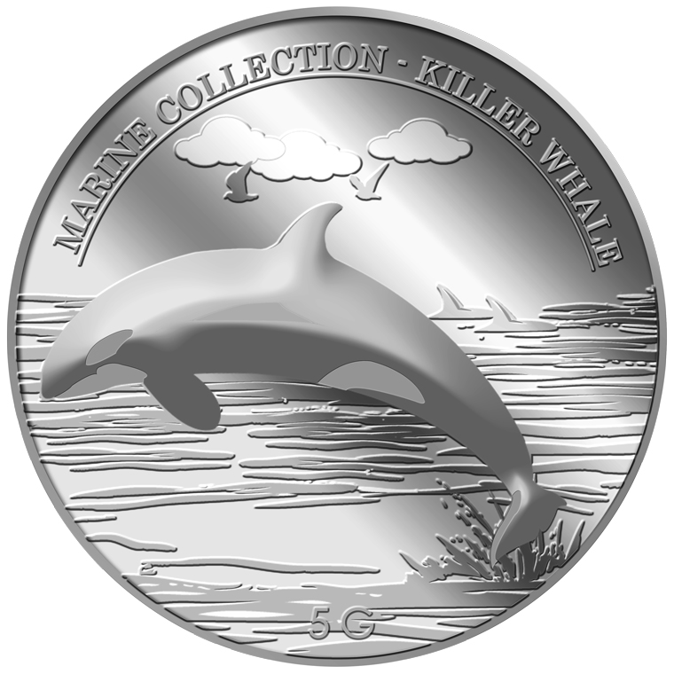 5g Killer Whale Silver Medallion