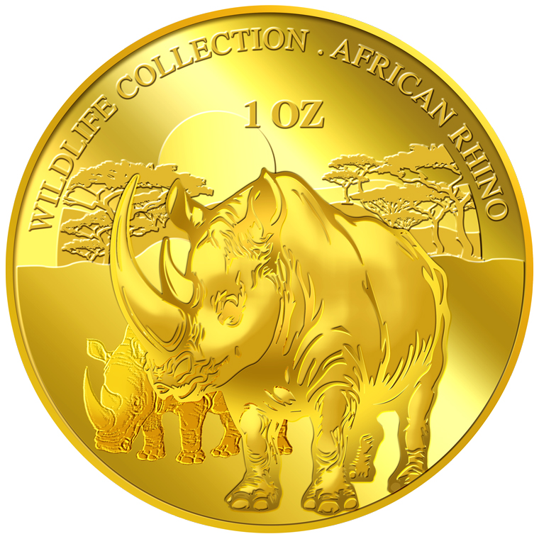 1oz Rhinoceros Gold Medallion