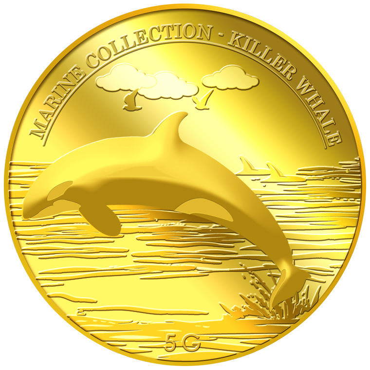 5g Killer Whale Gold Medallion