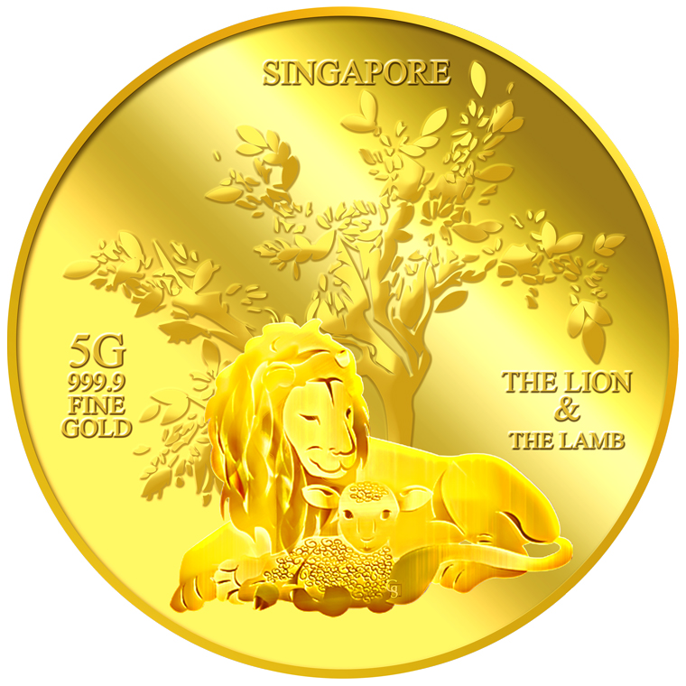 5g The Lion and the Lamb Gold Medallion (1ST LAUNCH)