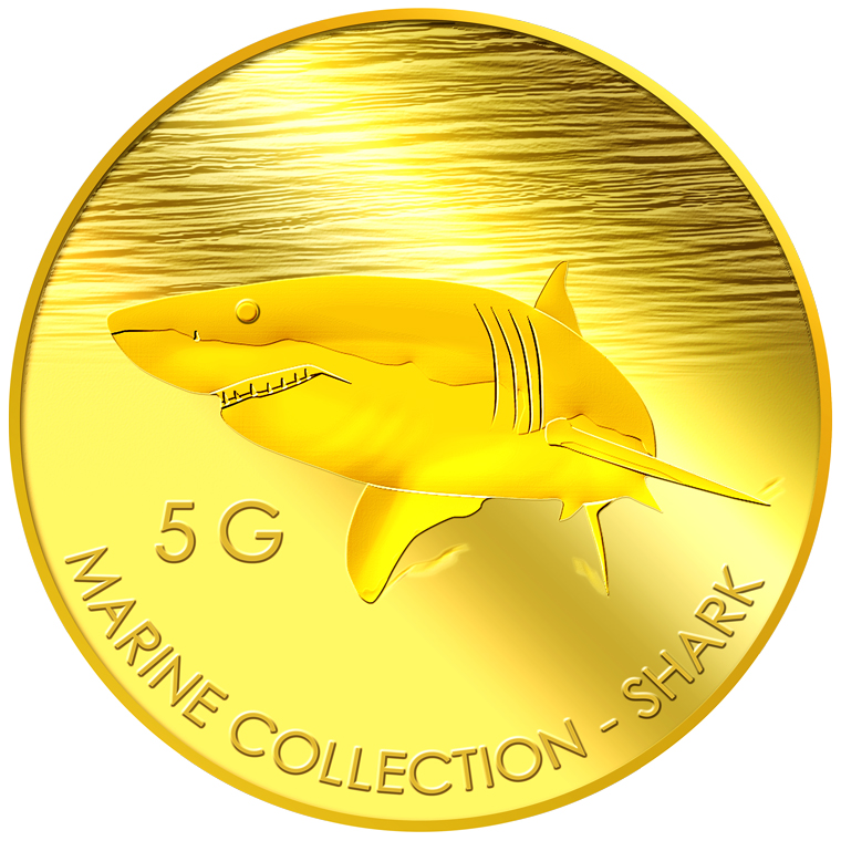 5g Shark Gold Medallion