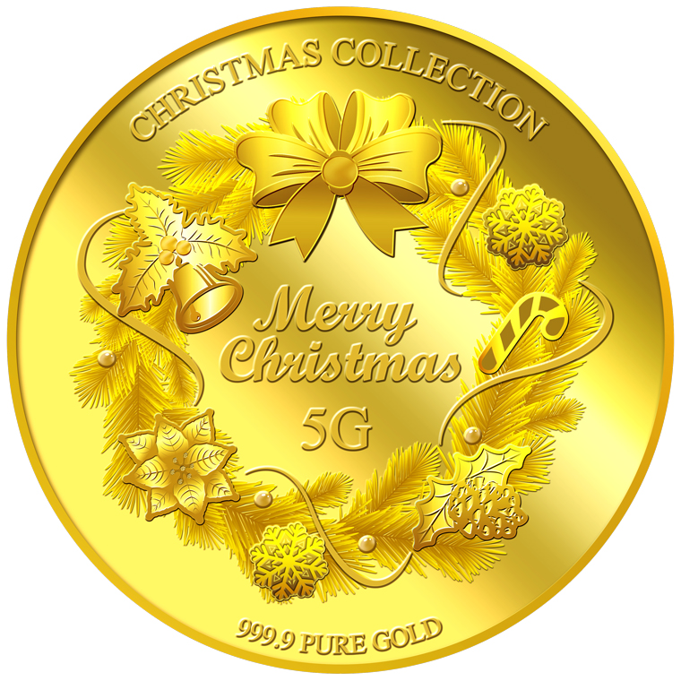 5g 2017 Christmas Wreath Gold Medallion