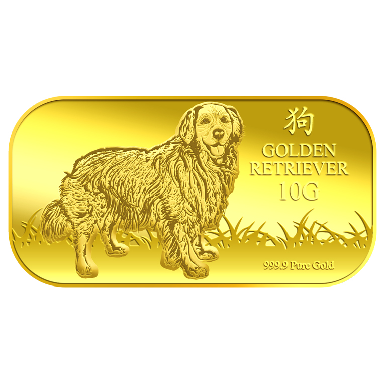 10g Golden Retriever Gold Bar