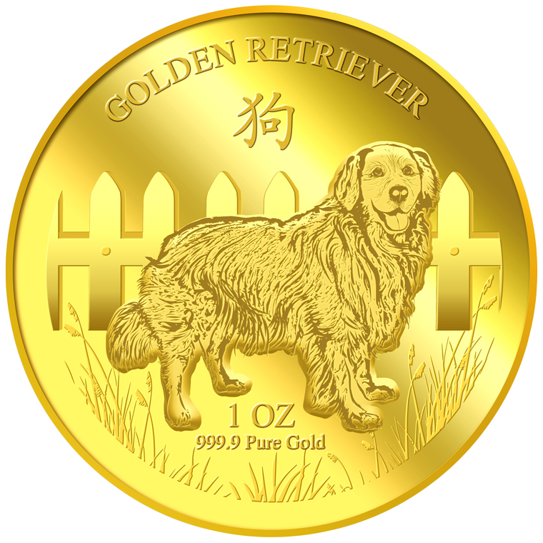 1oz Golden Retriever Gold Medallion