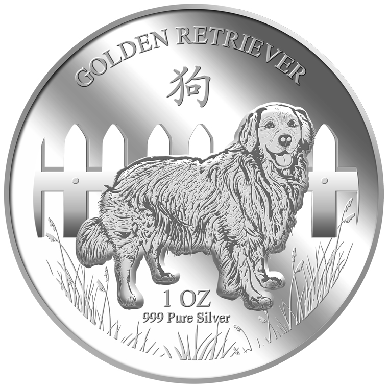 1oz Golden Retriever Silver Medallion