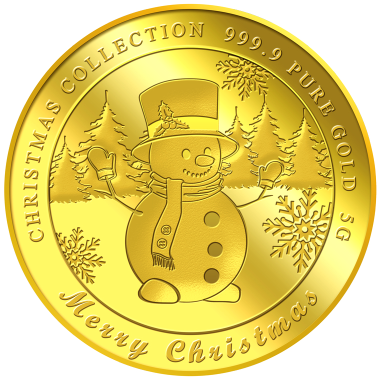 5G 2018 Snowman Gold Medallion