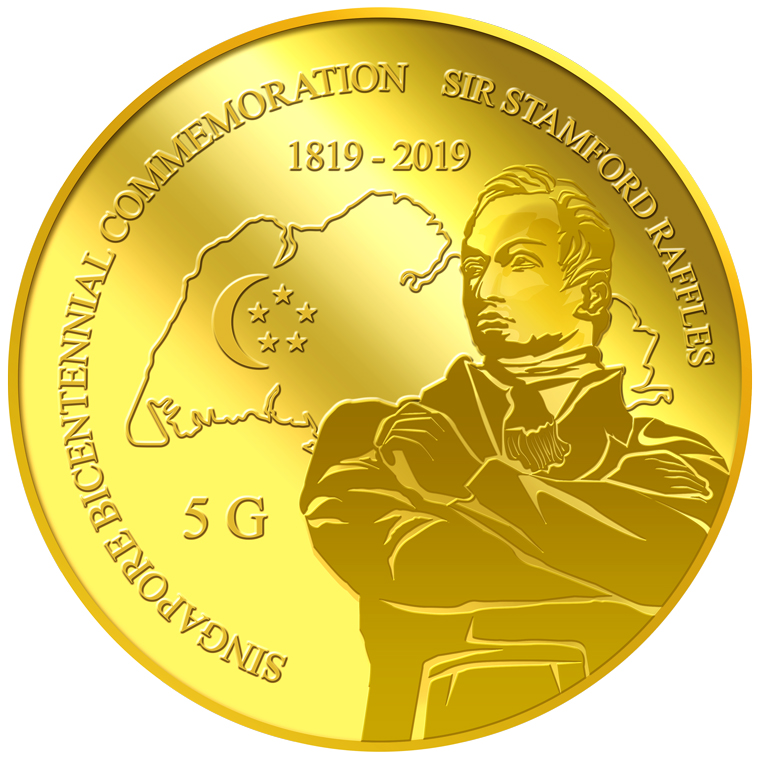 5G Sir Stamford Raffles Gold Coin (YEAR 2019)
