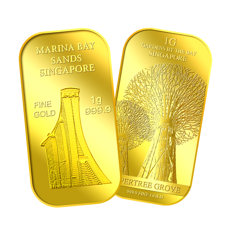 1g x 2 SG Marina Bay Sands Gold Bar and SG Supertree Gold Bar