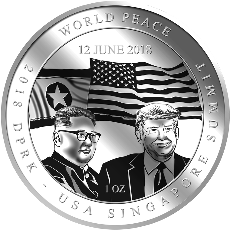 1oz 2018 DPRK - USA Singapore Summit SILVER COIN